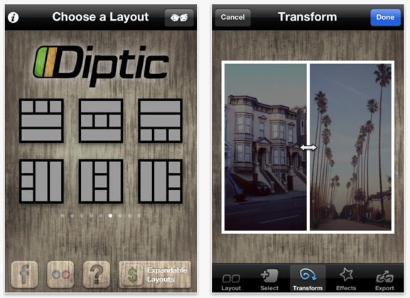 Diptic - יצירת קולאג' באייפון