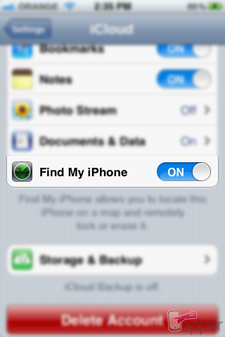 הפעלת Find my iPhone