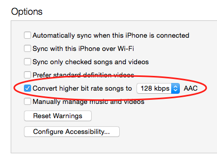 Convert higher bit rate songs to 128kbps AAC