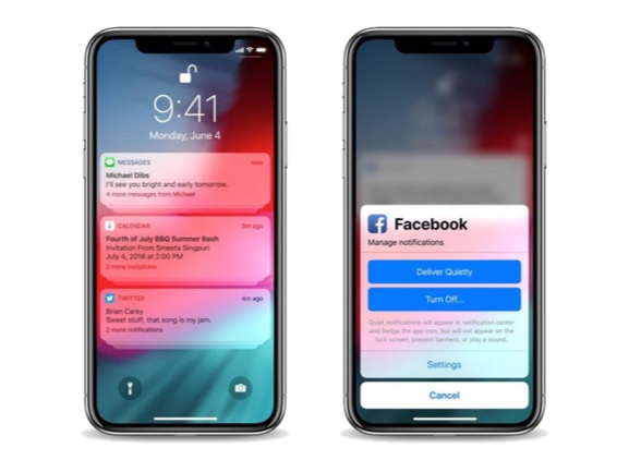 התראות iOS 12